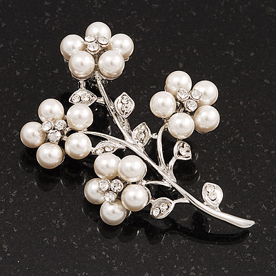White Faux Pearl Floral Brooch In Silver Tone Metal - 6cm Length - main view