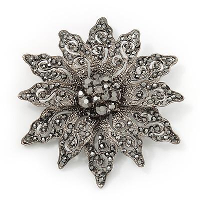 Victorian Style Black Diamante Flower Corsage Brooch In Gun Metal - 6.5cm Diameter