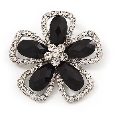 Black/Clear Diamante 'Flower' Corsage Brooch In Silver Metal - 5cm Diameter