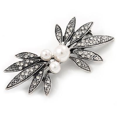Burn Silver Faux Pearl Diamante Floral Brooch - 7cm Length