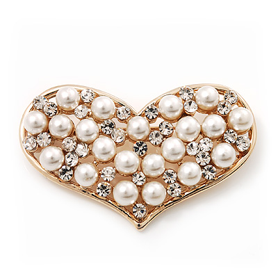 Gold Tone Faux Pearl Diamante 'Heart' Brooch - 4.5cm Length - main view
