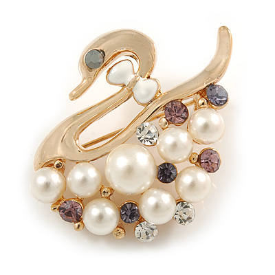 Swan Brooch Pin Style Delicate Gold Plated Cocktail Casual Gift