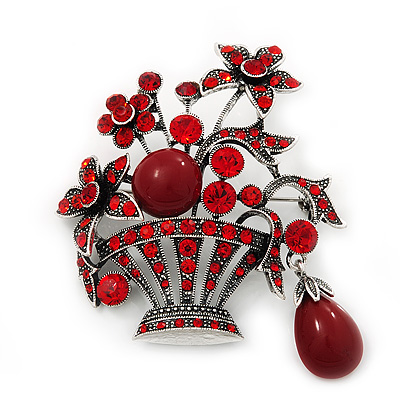Vintage Red Diamante Flower Basket Brooch (Burn Silver Finish)