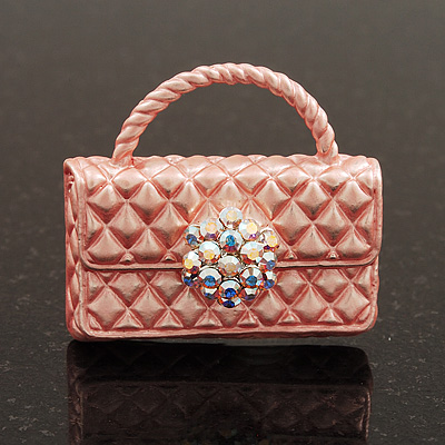 Stylish AB Crystal Pale Pink Enamel Bag Brooch In Silver Plating - 3cm Length