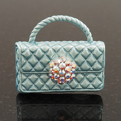 Stylish AB Crystal Pale Blue Enamel Bag Brooch In Silver Plating - 3cm Length