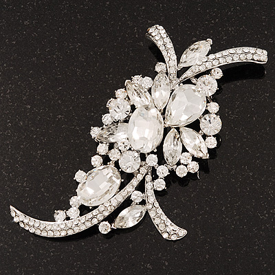 Large 'Hollywood Style' Clear Swarovski Crystal Corsage Brooch In Silver Plating - 12cm Length