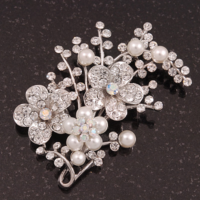 Bridal White Simulated Pearl & Clear Crystal Floral Brooch In Silver Plating - 6.5cm Length - main view