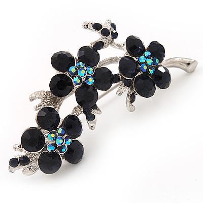 Swarovski Crystal Floral Brooch (Silver&Dark Blue) - 5.5cm Length