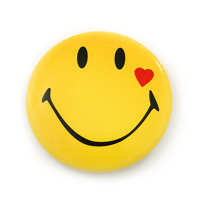 Happy Smiling Face with Red Heart Lapel Pin Button Badge - 3cm Diameter