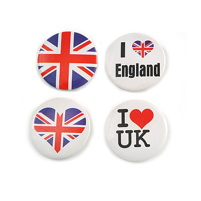 4pcs Union Jack Heart Lapel Pin Button Badge - 3cm Diameter - main view