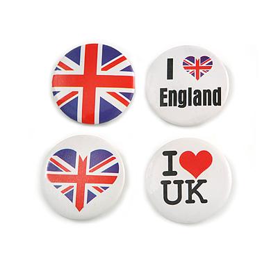 4pcs 'I Heart Love England' Lapel Pin Button Badge - 3cm Diameter