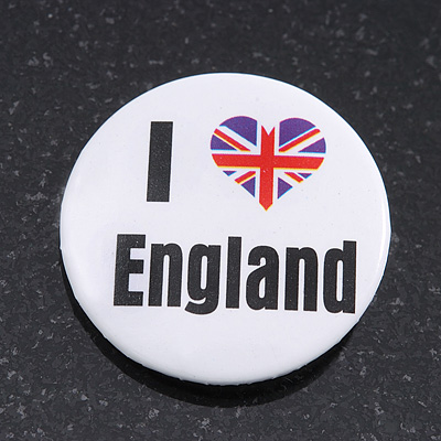 'I Heart Love England' Lapel Pin Button Badge - 3cm Diameter
