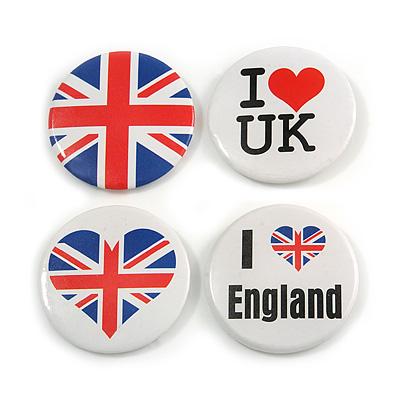 4pcs Union Jack Heart Lapel Pin Button Badge - 4.5cm Diameter