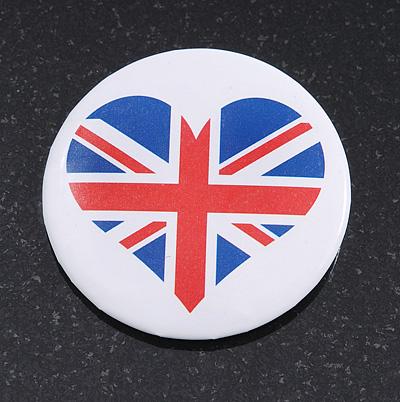 Union Jack Heart Lapel Pin Button Badge - 4.5cm Diameter
