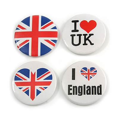 4pcs 'I Heart Love England' Lapel Pin Button Badge - 4.5cm Diameter