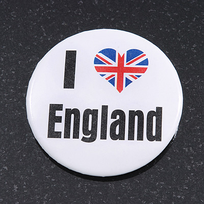'I Heart Love England' Lapel Pin Button Badge - 4.5cm Diameter