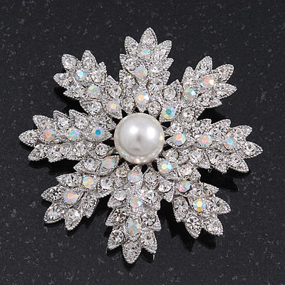 AB Crystal 'Snowflake' Simulated Pearl Brooch In Silver Plating - 6cm Diameter
