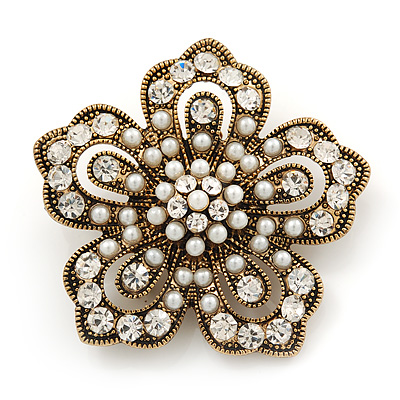 Vintage Filigree Simulated Pearl/ Diamante 'Flower' Brooch In Antique Gold Metal - 5cm Diameter