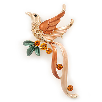 Exotic Orange/Peach Diamante 'Bird' Brooch In Gold Finish - 6.5cm Length