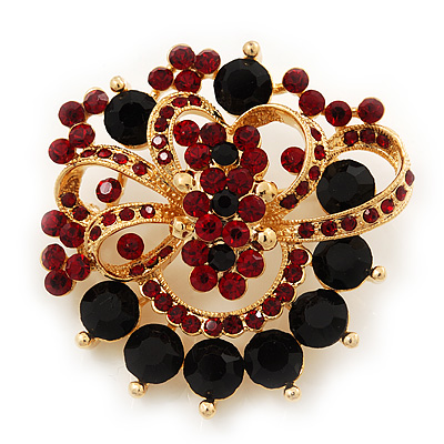 Burgundy Red & Jet-Black Diamante Corsage Brooch In Gold Plating - 5cm Diameter