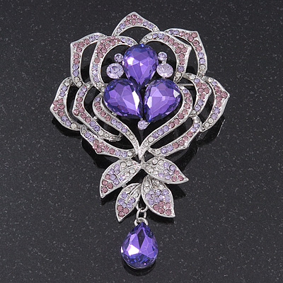 Stunning Purple CZ Floral Dimensional Corsage Brooch In Silver Plating - 10cm Length