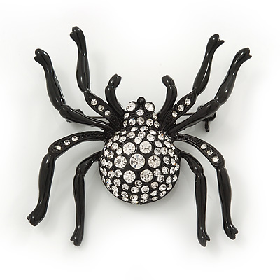 Large Swarovski Crystal 'Spider' Brooch In Black Metal - 6cm Length - main view