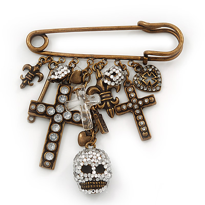 'Crosses, Hearts & Skulls' Charm Safety Pin Brooch In Bronze Finish Metal - - main view