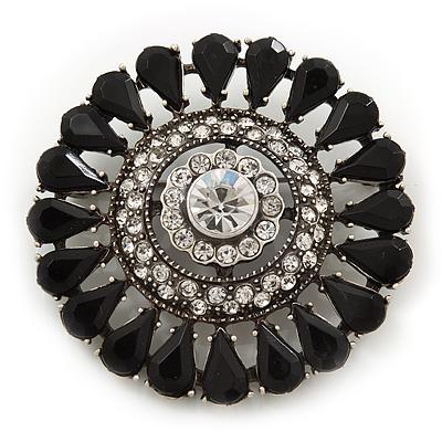 Vintage Black Acrylic Crystal Corsage Brooch In Black Tone Metal - 50mm D