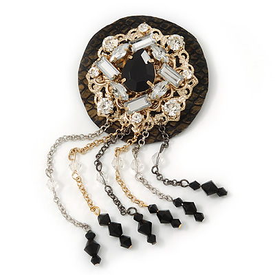 Hand-made Snakeskin Gem Embellished Chain Tassel Brooch - 13cm length