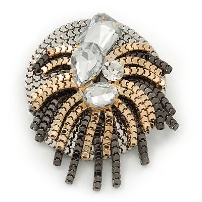 Stunning Clear Crystal 'Star' Brooch In Silver/Gold/Gun Metal - 5.5cm Diameter
