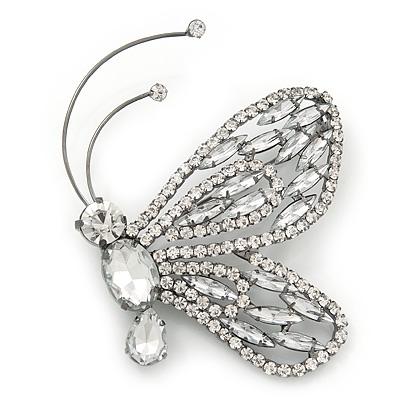 596dbb27d53 Gigantic Clear Glass Crystal 'Butterfly' Brooch In Gun Metal ...