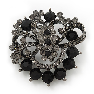Dim Grey & Jet-Black Diamante Corsage Brooch In Gun Metal Finish - 5cm Diameter