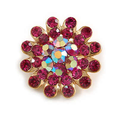 Tiny Fuchsia Crystal Daisy Pin Brooch In Gold Plating - 2.3cm Diameter