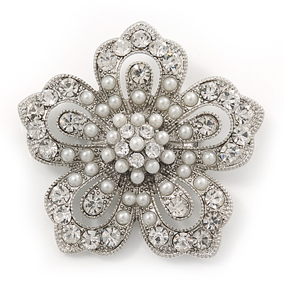 Filigree Pear/Diamante 'Flower' Brooch In Silver Plating - 5cm Diameter