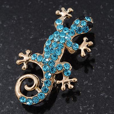 Small Light Blue Crystal 'Lizard' Brooch In Gold Plating - 3.5cm Length