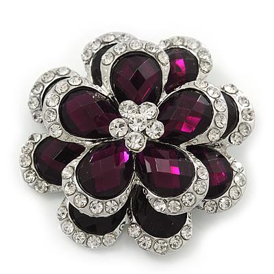 Clear/Purple Diamante 'Flower' Corsage Brooch In Silver Plating - 4cm Diameter