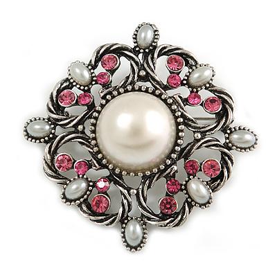 Vintage Bridal Corsage Faux Pearl Fuchsia Crystal Brooch/Pendant In Burn Silver Metal - 4.5cm Diameter