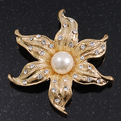 Gold Plated Crystal/Simulated Pearl Flower Brooch/Pendant - 5.5cm Diameter
