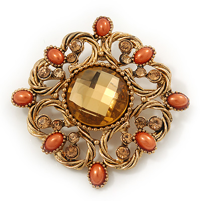 Vintage Topaz Coloured Crystal Orange Bead Brooch/Pendant In Gold Metal - 4.5cm