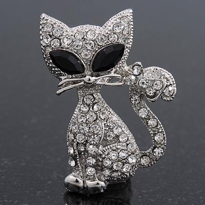 Cute Diamante 'Cat' Brooch In Silver Plating - 3.5cm Length