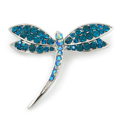 Classic Teal Green Swarovski Crystal Dragonfly Brooch In Rhodium Plating - 6.5cm Length