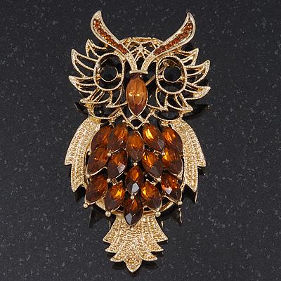 Oversized Rhodium Plated Filigree Amber Coloured Crystal 'Owl' Brooch - 7.5cm Length