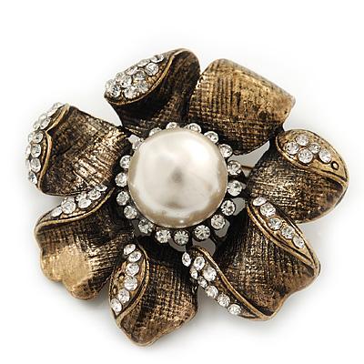 Vintage Textured Diamante Flower Brooch In Bronze Tone Metal - 5cm Diameter