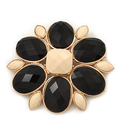 Huge Black/Cream Acrylic 'Flower' Brooch In Gold Plating - 9cm Diameter