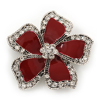 Red Enamel Clear Crystal 'Daisy' Brooch In Silver Plating - 4.5cm Diameter