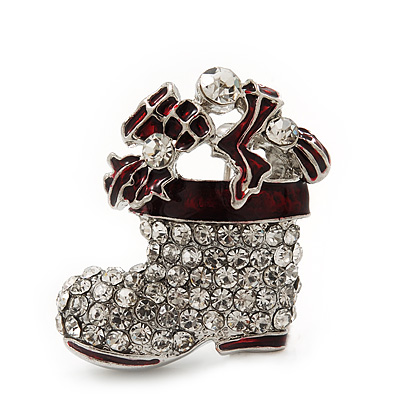 Small Clear Swarovski Crystal Christmas Stocking Brooch In Rhodium Plated Metal - 3cm Length - main view