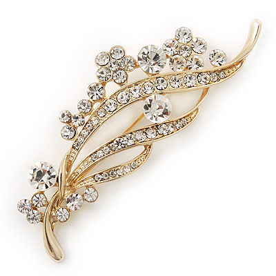 Clear Swarovski Crystal 'Floral' Bridal Brooch In Gold Plating - 8cm Length