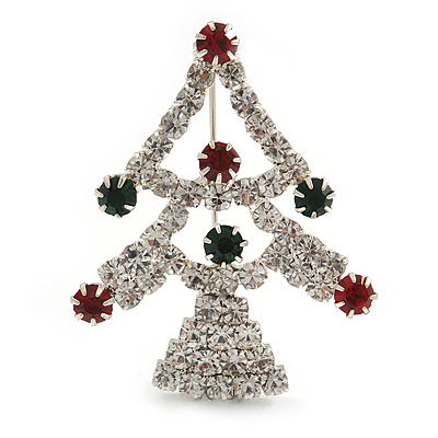 Green/Red/White Crystal 'Christmas Tree' Brooch In Silver Plating - 4.5cm Length - main view