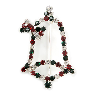 Green/Red/White Christmas Crystal Jingle Bell Brooch In Silver Plating - 5.5cm Length - main view