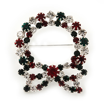 Red/Green/White Crystal Christmas Holly Wreath Brooch In Silver Plating - 4.5cm Length - main view